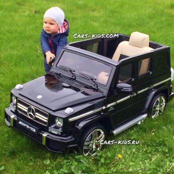 Электромобиль Mercedes-Benz G63 AMG красный глянец (АКБ 12v 10ah, колеса резина, сиденье кожа, пульт, музыка)
