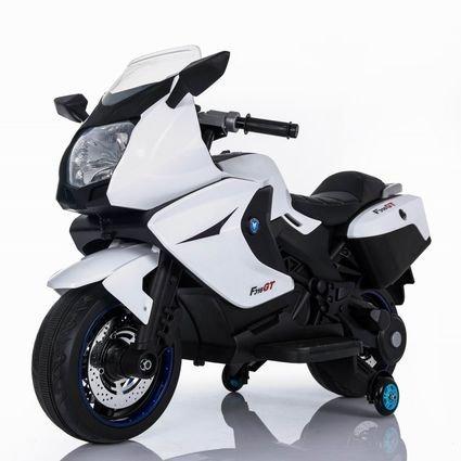 Электромотоцикл BMW K1200GT белый 12V - XMX316 (колеса резина, кресло кожа, музыка, ручка газа)