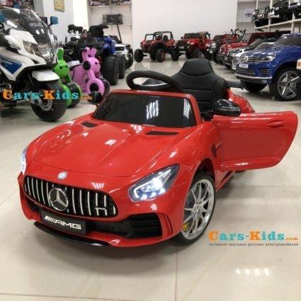 Электромобиль Mercedes-Benz GTR AMG красный (колеса резина, кресло кожа, пульт, музыка)