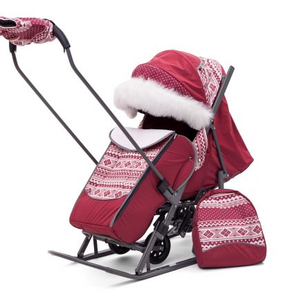 Санки-коляски Pikate Скандинавия «Бордо» (овчина, 3 положения спинки, краска рамы темно-серый)